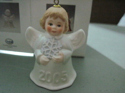 2005 Goebel ANGEL BELL ORNAMENT Silver With Snowflake in Box