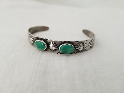 Fred Harvery Era Sterling Silver Tooled Thunderbird Turquoise Cuff Bracelet
