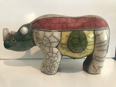 Raku Pottery Animal RHINO RHINOCEROS Figurine - Hand Made In South Africa