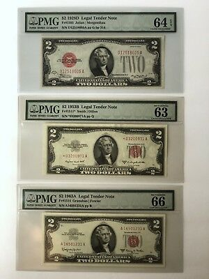 Three Note $2 Legal Tender Set (1928, 1953, 1963) Graded By PMG