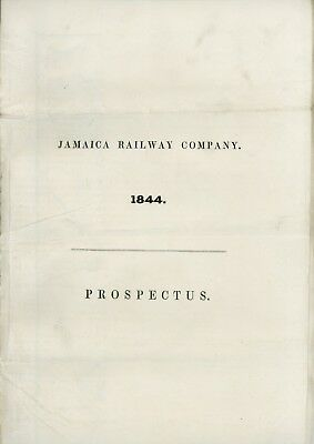 Jamaica Railway Company 1844 Prospectus, With Railroad Map And 16 Pages