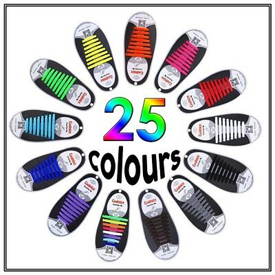 No Tie Shoe Laces Elastic Silicone Shoelaces Sneakers Runners Adult Unisex Child