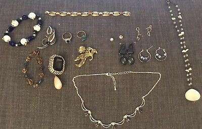 Vintage Lot Of 14 Pieces Custom Jewelry Necklaces Ring Brooch Bracelet .