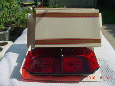 AVON - RED Cape Cod Collection RUBY RED - CONDIMENT DISH - Brand New in Box