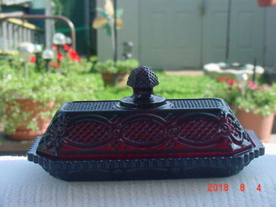 AVON - RED Cape Cod Collection RUBY RED -Covered BUTTER DISH - Brand New in Box