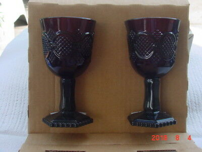 AVON- RED Cape Cod Collection RUBY RED - WINE GLASS- Set  2 - Brand New in Box