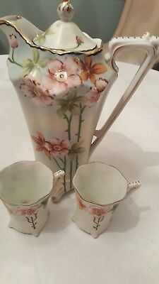 Hand Painted Nippon Chocolate Pot And 2 Cups