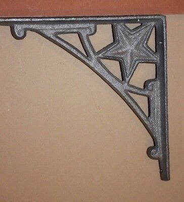 "Rustic Cast Iron Western Star Shelf Brackets, 7 1/2"", B-13"