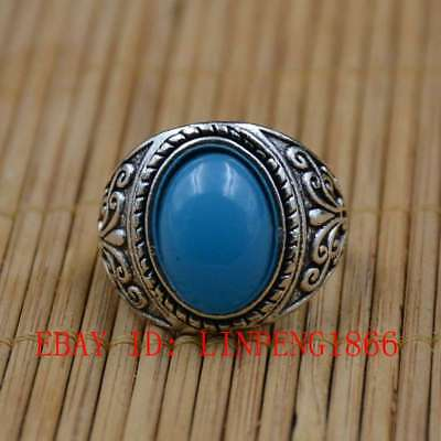 Tibetan Silver Hand-carved Inlaid Zircon Rings L14