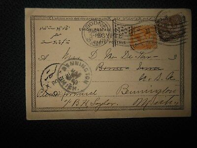 1903 Cairo Egypt To Michigan Postcard 5 Frank's & Fancy Usa Cancel Camels People