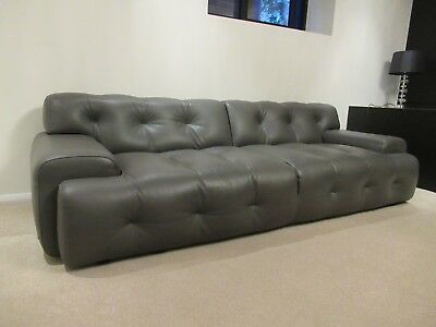 Beautiful Quality Designer Roche Bobois Quilted Leather Sofa