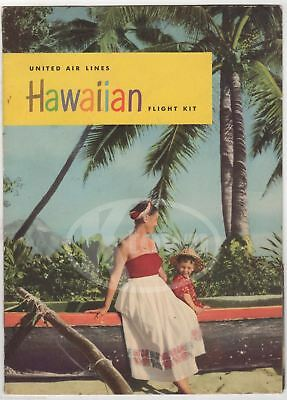 United Airlines Vintage Graphic Advertising Hawaiian Flight Packet & Flyers