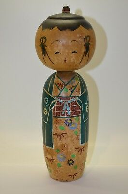 "Rare Vintage Japanese Kokeshi Wooden Doll Head Turn 9"" High Painted"