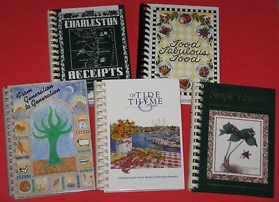Lot of 5 Hardback Spiral Fundraiser COOKBOOKS TN TX MD SC NJ Very Nice Condition