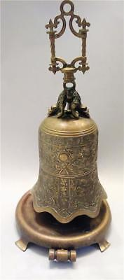 Chinese Brass or Bronze Buddhist Temple Bell With Stand & Hammer Dragon