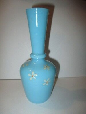 Victorian Bristol Blue Vanity Bottle Vase Enamel Daisy Flowers Donut Ring Collar