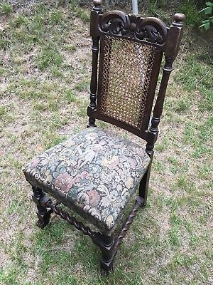 6 Jacobean Timber Antique Dining Chairs Ready For A Makeover