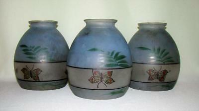 "3 Antique Frosted Glass Hp Butterfly & Fern Lamp Shades 5"" Tall"