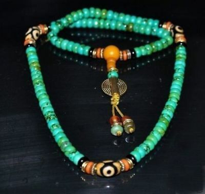 Tibet Tibetan Turquoise Buddhist Buddha Prayer Bead Mala Necklace