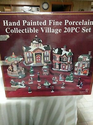 20 Pc.Christmas Village Hand Painted Fine Porcelain Detail  By Galleria XPH-129