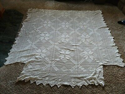 "Vintage Hand Knitted Crochet Full Bed Spread  White  84"" x 84"""