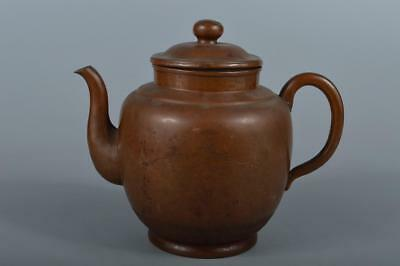 R4070: Japanese Bird Landscape sculpture OLD COPPER BOTTLE Teapot, Seikodo made