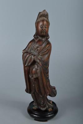R4200: Japanese Old Wooden GUANYIN BUDDHIST STATUE Kannon Tea Ceremony