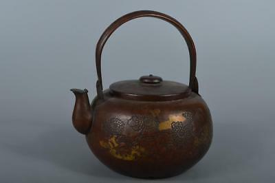 R4342: Japanese XF plating pattern Flower sculpture OLD COPPER BOTTLE Teapot