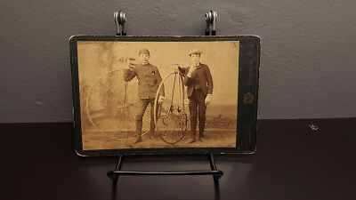 RARE Antique Late 1800's Cabinet Card Photo Penny Farthing / High Wheel bicycle