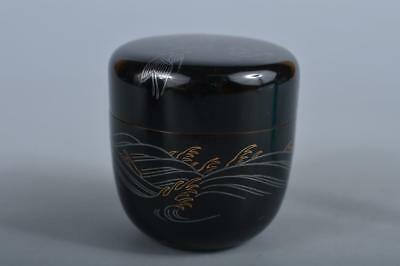 R4693: Japanese Wooden Lacquer ware Bird Wave pattern TEA CADDY Natsume Chaire