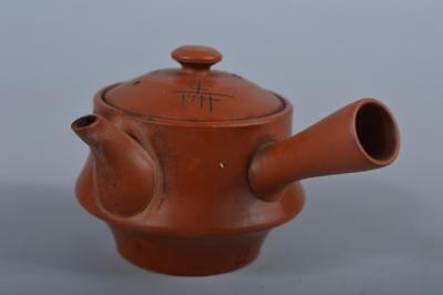 R4753: Japanese Old Tokoname-ware Brown pottery Poetry sculpture TEAPOT Sencha