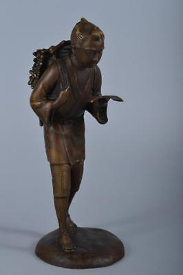 R4770: Japanese Copper Kinjiro Ninomiya STATUE sculpture Doll Tea Ceremony