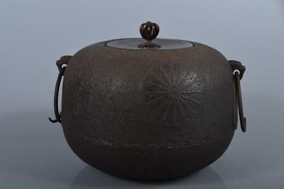 R4901: Japanese Iron Chrysanthemum crest Paulownia sculpture TEAKETTLE Teapot