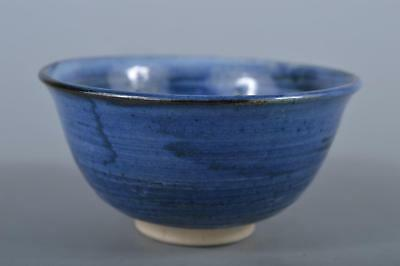 R4855: Japanese Seto-ware Blue glaze TEA BOWL Green tea tool Tea Ceremony