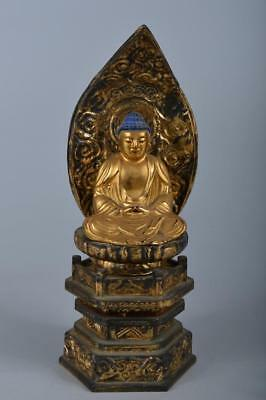 R4967: Japanese Wooden BUDDHIST STATUE sculpture Ornament Buddhist art
