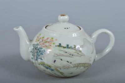 R4993: Chinese Colored porcelain Landscape Poetry pattern TEAPOT Kyusu Sencha