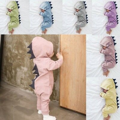 Kids Baby Boy Girl Newborn Infant Dinosaur Hooded Romper Jumpsuit Clothes Outfit