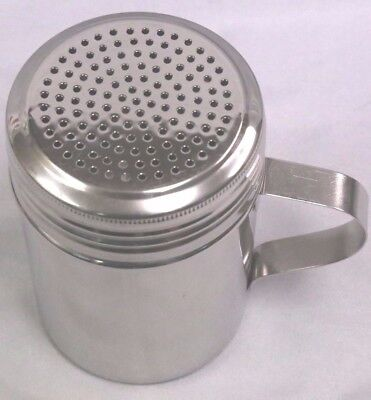 (4) 10 Ounce Stainless Steel with Handle DREDGE SPICE SALT PEPPER SHAKER Nice