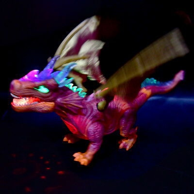 Walking Dinosaur Flying Fire Dragon Kids LED Light Up Toy Figure Real Sounds