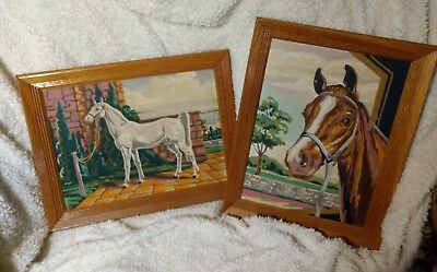 Pair of Vintage Framed Paint by Number Paintings - Horses