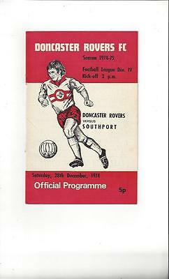 Doncaster Rovers v Southport 1974/75 Football Programme