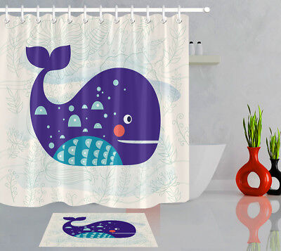 Bathroom Waterproof Fabric Shower Curtain Set Cartoon Whale Waves and Flowers