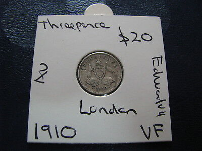 Australia 1910 Threepence First Issue London Mint Silver 92.5%   Better Crown