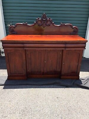 Victorian Flame Mahogany Breakfront Antique 4-food Sideboard, c1870's