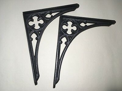 "pair 12 "" 30cm large cast iron victorian gothic shelf brackets antique decorativ"