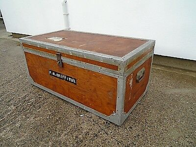3' Vintage Camphor Wood Metal Banded Travel Trunk Coffee Table Blanket Chest Box