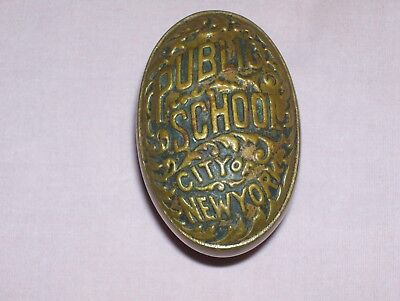 Antique Vintage Solid Brass Door Knob City Of New York Public School