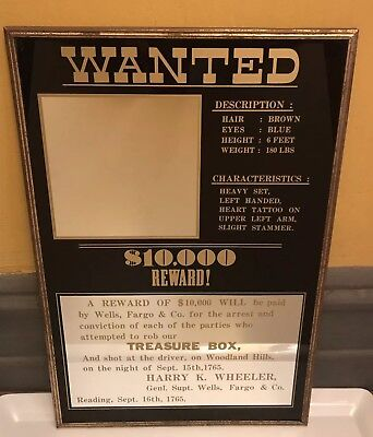 Vintage WANTED $10,000 REWARD! Mirror - Man Cave Mirror Or Pub Bar Decor