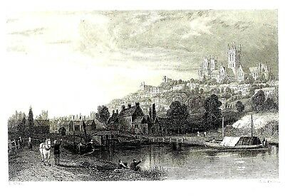 The City of Lincoln (From the River Witham) Engraving after Thomas Allom - 1840