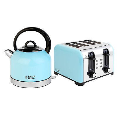 Russell Hobbs 1.5L Jug Kettle 3000W and 4 Slice Toaster 1500W Heavenly Blue Set